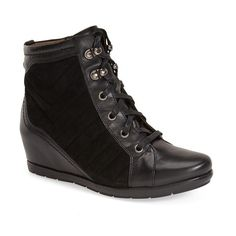 """Earthies'Limburg' Wedge Bootie, 2"""" heel (675 BRL) ❤ liked on Polyvore featuring shoes, boots, ankle booties, ankle boots, black, black leather bootie, wedge booties, platform wedge booties, black booties and lace up platform booties"""