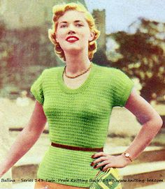 free knitting pattern for a super cute basic short sleeved 1950s sweater