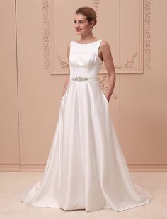 A-Line Princess Scoop Neck Court Train Satin Custom Wedding Dresses with Beading Buttons Sashes/ Ribbons Pocket by LAN TING BRIDE® 6215155 2018 – $159.99