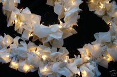 Lighted Rag Swag Garland (you could make this with all kinds of fabric) for different occasions Christmas Lights, Christmas Time, Christmas Crafts, Christmas Decorations, Christmas Ideas, Christmas Ribbon, Christmas Inspiration, Holiday Fun, Holiday Ideas