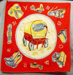 Vintage Children's Handkerchief Advertising Amsco toys Dolls Cowboy Western 50s
