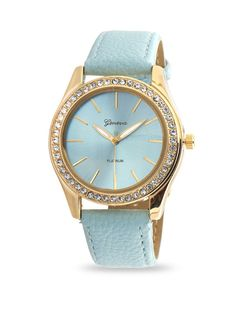 Light Blue Leather Fashion Watch