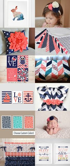 Navy and Coral Nursery by Tracy Erickson on Etsy--Pinned with TreasuryPin.com