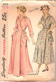 1940s Simplicity 3014 Misses Wrap Around House Dress Brunch Coat Housecoat womens vintage sewing pattern by mbchills