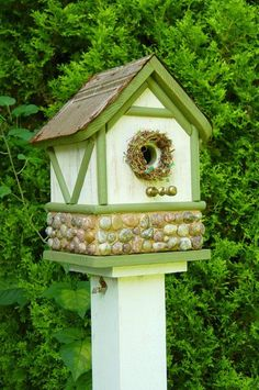 Cabin birdhouse - green with stone foundation - lovely!