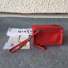 £139.00  A/W Givenchy 2016 Collection Outlet-Givenchy Small Pandora Wristlet Bag in Red Leather