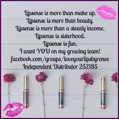 Join my growing team! We are all about being positive, having fun, learning, and making MONEY! Lipsense #BossBabes @LoveyourlipsbyRenee Independent Distributor 252185 Cosmetics Make Up Beauty