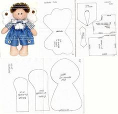 ANGELITO - angel doll - template stuffed toy pattern sewing handmade craft
