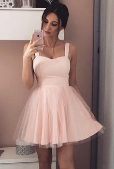 Cheap Straps Short Sleeveless Pink Tulle Homecoming Dress
