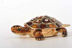 Mini Turtle Trinket Box by Keren Kopal Faberge Egg Austrian Crystal