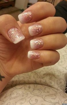 26 Superior French Manicure Designs – Hottest French Manicure Concepts Nude glitter ombre nails – do that with a gel nail package and it'll final MUCH longer than common polish French Nails, Sparkle French Manicure, French Manicure Designs, Ombre Nail Designs, Sparkle Nails, Silver Nails, Winter Wedding Nails, Winter Weddings, Fancy Nail Art