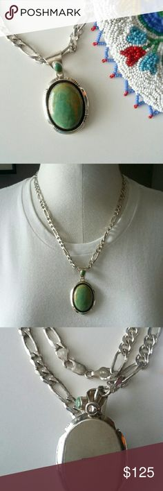 """Vintage Turquoise Necklace Vintage 2 1/4"""" green turquoise stone cabachon pendant with smaller stone on the bail, stamped sterling on the back.   On a 20"""" sterling silver Figaro chain (5mm).  Stamped .925 Italy on clasps.  This is a beautiful stone,  it's polished and in excellent condition.   The silver is marked and has tarnish typical with gentle wear and age. Jewelry Necklaces"""