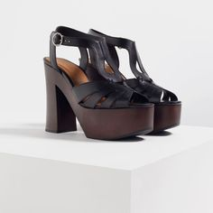 WOODEN PLATFORM LEATHER SANDALS-View all-SHOES-WOMAN | ZARA United States
