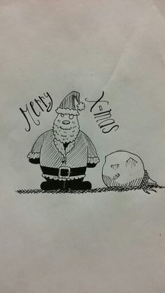 Merry Christmas to everyone. #drawing #draw #pencil #ink #sketch #paper #santa #cartoon #quick