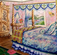 """Colorist Jackie Zoost From Debbie Macomber's """" Come Home to Color """" . Done with Prismacolor pencils."""
