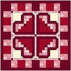 Log Cabin Heart Quilt Block Pattern | Craftsy