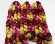 BFL Wool/ Silk Roving - Handpainted Felting or Spinning Fiber