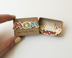 """Mother's day Card/ Pun Mom Card/ Funny Card for Mom/ WOW Mom Card/ Amazing Mom Card / Super Mom/ """"Mom you are just Wow"""" Matchbox/ WOW MAMA Mutter Tageskarte / heiße Mutter Karte / von More from my site Funny Father's Day Card – Grape Job Raisin Me Mom Cards, Mothers Day Cards, Valentine Day Cards, Valentines, Matchbox Crafts, Matchbox Art, Mother Birthday Gifts, Mother Day Gifts, Cute Gifts"""