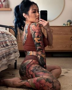 As the climate gets hotter, you will want to wear less. Don't want to feel naked? Get yourself a full bodysuit tattoo! Asian Tattoos, Hot Tattoos, Body Art Tattoos, Girl Tattoos, Sleeve Tattoos, Tattoos For Women, Asian Tattoo Girl, Gypsy Tattoos, Sailor Tattoos