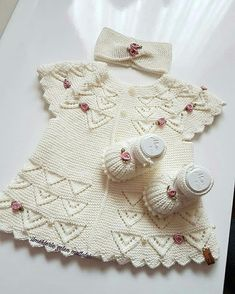 Very Nice Embellishments - maallure Kids Knitting Patterns, Baby Sweater Patterns, Knitting For Kids, Knitting Designs, Baby Patterns, Dress Patterns, Baby Cardigan, Girls Sweaters, Baby Sweaters