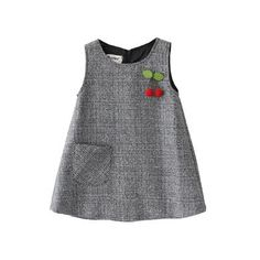NEW For Fall Little Girls Jumper With Adorable Cherry Applique Baby Girl Dresses Adorable Applique Cherry Fall Girls jumper Kids Dress Wear, Dresses Kids Girl, Kids Outfits, Baby Dresses, Dress Girl, Winter Outfits, Baby Frocks Designs, Kids Frocks Design, Little Girl Fashion