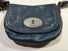 FOSSIL Crossbody Blue Purse Small Long Live Vintage Silver Hardware Leather #Fossil #MessengerCrossBody
