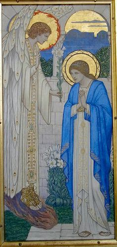 Bourton-on-the-Hill Church, Gloucestershire,  North aisle, triptych reredos by C E Bateman, painted panels by Sidney H Meteyard, 1935 : detail - Annunciation