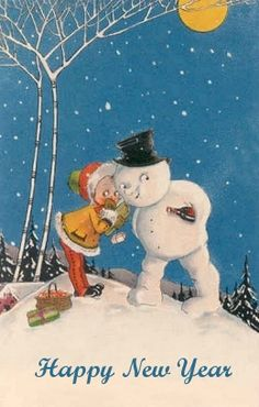 A Happy New Year. Vintage New Year Card. Child Whispering to a Snowman. Vintage Greeting Cards, Vintage Christmas Cards, Retro Christmas, Christmas Images, Vintage Holiday, Holiday Cards, Christmas Snowman, Holiday Ideas, Vintage Happy New Year