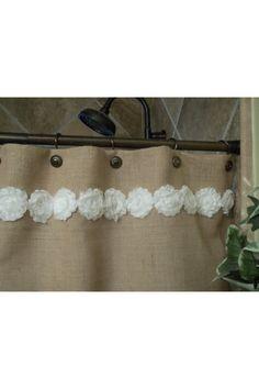 Burlap Shower Curtain - Shabby White Flower Trim via Etsy Burlap Shower Curtains, Shabby Chic Shower Curtain, Drop Cloth Curtains, Green Curtains, Rustic Curtains, Colorful Curtains, Diy Curtains, Homemade Curtains, Luxury Curtains