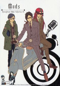 Black Butler ~~ Scooter Boys? :: Ciel, Sebastian. & Grell ::: NOTE The immortal GOD OF DEATH is the only one wearing a helmet. ugh..