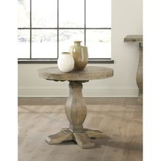 Rosalind Wheeler Casanovia Solid Wood Pedestal End Table Table Base Color: White Stain Sofa End Tables, Chair Side Table, Side Tables, Round End Tables, Entry Tables, Accent Tables, Wood Pedestal, Pedestal Side Table, Rustic Frames