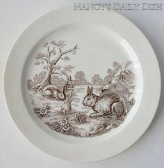Vintage Brown English Transferware Grazing Bunny Rabbits Plate Copeland Spode