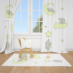 Excited to share this item from my #etsy shop: Cute Elephants and Moon Cloud Star Baby Boy Room Curtain Nursery Curtains Window Curtains