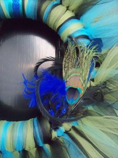 Beautiful PEACOCK Inspired TULLE WREATH by BonusMomBoutique, $24.99