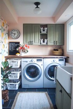 Laundry Room Makeover with lemon wallpaper, blush pink walls, apron front sink, and DIY countertop & basket storage.