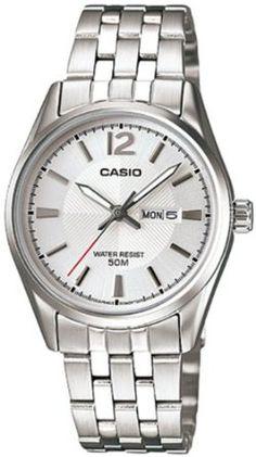 Casio Womens LTP1335D-7AV Silver Stainless-Steel Quartz Watch with White Dial