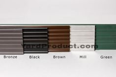 This displays the 5 color options of our PRO aluminum landscape edging options.  Free delivery anywhere in the U.S. or Canada. Order yours today from YardProduct.com!