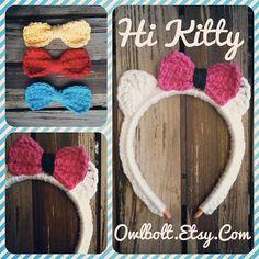 Hi Kitty Toddler/ child Headband by owlbolt on Etsy, $10.00