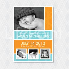 Birth Announcement Baby Boy Modern Square  by lifepointgraphics, $15.00