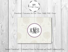 Blue Lavender Floral - DIY Printable Monogram Note Card Template - Add Text, Print, Trim, Fold, Done! Unlimited Personal Prints. PRE.0157 by DIYNotecards on Etsy