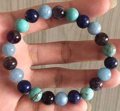 #stonebracelet  #bracelet #healingcrystals #fengshui  #charmbracelet #healingstone Healing Stones, Crystal Healing, Aqua Marine, Stone Bracelet, Lapis Lazuli, Amethyst, Beaded Bracelets, Turquoise, Jewelry