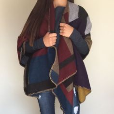 Our super warm reversible asymetrical Blanket Scarf will soon be your favorite item in your closet. Stylish and sophisticated yet rugged and comfy it will easily meet all of your needs this fall and winter. You will love how easy it is to drape over your body while snuggled up reading a good book. You can also pair it with your favorite skinny jeans and boots for a night out.