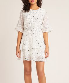Embellished with ruffled tiers and a whimsical dotted print, this swingy dress will make a charming statement at your next brunch or date night. Bb, Dots, Short Sleeve Dresses, Ivory, Casual, Women, Fashion, Dress Ideas, Stitches