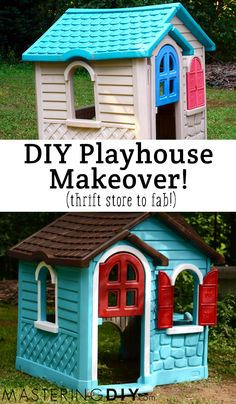 Do It Yourself Painted Playhouse Makeover - Using spray paint for plastic. Now, to keep my eye out for a plastic playhouse!