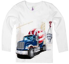 Shirts That Go Little Boys Long Sleeve Big Blue Cement Mixer Truck TShirt 6 White * You can get additional details at the image link.Note:It is affiliate link to Amazon.