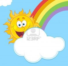 Illustration of Happy Sun Mascot Cartoon Character Hiding Behind Cloud And Rainbow vector art, clipart and stock vectors. Rainbow Cartoon, Pictures Of The Sun, Happy Sun, Cartoon Images, Cartoon Characters, Vector Art, Cute Animals, Clip Art, Clouds