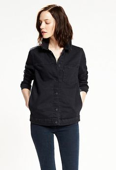 """Levi's BLACK DENIM LINE 8 TRUCKER JACKET """"Cut for a classic, slightly looser """"boyfriend"""" fit and with a cropped length, this Trucker masters that coveted vintage look."""""""