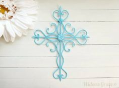 Aquamarine Ornate Metal Cross Wall Art / Aqua Home by WillowsGrace, $22.00