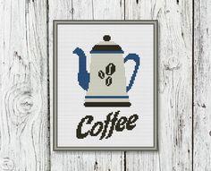 Coffee Pot Counted Cross Stitch Pattern  PDF by CrossStitchShop, $3.00