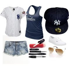 New York Yankees outfit -- yes please! I neeeeeeed! Yankees Outfit, Yankees Gear, Ny Yankees, Baseball Shirts, Sports Shirts, Baseball Kids, Sports Apparel, Sport Outfits, Summer Outfits